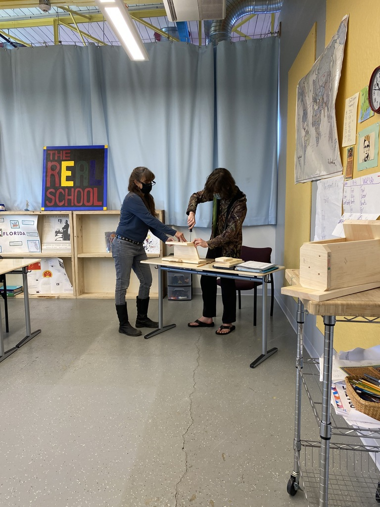 Student and Teacher Building Birdhouse